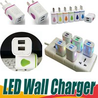 Wholesale Tablet Power 5v - LED Dual USB 2 Ports Wall Charger Light Up Water-drop Home Travel Power Adapter 5V 3.1A AC US EU Plug For Samsung LG HTC Tablet Mobile Phone