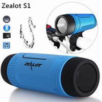 bt bluetoothlu taşınabilir hoparlör toptan satış-Spor Bluetooth Hoparlör Zealot S1 BT Taşınabilir Kablosuz Su Geçirmez Güç Banka Ve El Feneri ile Çok Fonksiyonlu Bluetooth Hoparlör 5 renkler