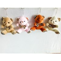 9cm Teddy Bear Cartoon Stuffed Toy Plush Toy Pendant Bag Keychain Titular da chave do carro para o saco de suspensão Wedding Gift Bouquet Gift Christmas