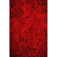 blumenbilder rosen rot großhandel-8x10ft Rote Rosen Foto Hintergründe Romantische Blume Wand Hintergrund Hochzeit Studio Bild Schießen Tapete Valentinstag Fotografie Kulissen