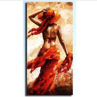 niñas desnudas pinturas al óleo arte al por mayor-Pintura al óleo sobre lienzo rojo Muchacha desnuda de cartel atractivo de las mujeres Figuras Pintura Acrílico Cuadro decoración casera moderna arte de la pared