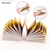 Wholesale curl forms - Wholesale- 100 Pcs Professional Nail Forms Sticker Acrylic Curve Nails Gel Extension Nail Art Polish Guide Form Curl Tips Z10