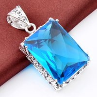 Wholesale Restore Silver Jewelry - Luckyshine 2pcs Lot rectangle restore ancient ways blue quartz pendant 925 Silver Pendant Trendy Party Holiday Jewelry Gift p0060