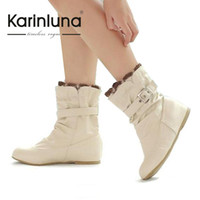 Wholesale Calf Boots Wedge Heel Buckles - Wholesale- Hidden Wedge shoes Big Size 34-43 Mid heels spring boots for women Laides sweet Colourful boots with Ruffles and Buckle JAB132