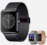 metal akıllı saatler toptan satış-Bluetooth Akıllı Seyretmek Telefon Z60 Paslanmaz Çelik Destek SIM TF Kart Kamera Spor Izci IOS Android için GT08 DZ09 A1 V8 Metal Smartwatch