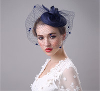 Wholesale elegant church hats - Elegant Wedding Party Bridal Headdress Church Hats 2017 Cheap Handmade Custom Navy Blue Hat ,Kentucky Derby Hats