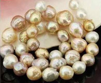 Wholesale 13mm Pearl Necklace - Fine gorgeous 12-13mm south sea baroque multicolor keshi pearl necklace 18inch 14k