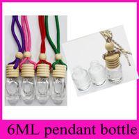 Wholesale car aroma bottle online - High transparent ML car pendant perfume bottle Square bottle Cylinder bottle glass aroma perfume empty bottles DIY drill Home Fragrances