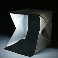 Wholesale Portable Photography Kit - Foldable Portable Lightbox 9'' Photography Studio Light Box Kit with LED Lights and Two Blackground Mini Softbox