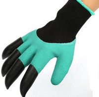 Wholesale 1 Pair Rubber Polyester Gloves With ABS Plastic Claw Men Women Garden Gloves With Claws for Digging Planting