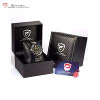 Wholesale Shark Led Digital Sport Watch - Wholesale- Luxury Leather Box Bull SHARK Full Steel Watch Men Male Clock Montre Homme Relogio Digital Sport Waterproof LED Watches  SH007-9