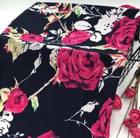 Wholesale tweed fabric cheap - wholesale 3colour Roses chiffon tulle fabrics Wedding dresses, print satin floral tweed cheap-silk fabric stripe quilted scrapbooking B722
