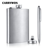 Wholesale Stainless Steel Whisky Bottle - Wholesale- CARRYWON Classic Silver Design Stainless Steel Hip Flasks 8oz Whisky Outdoor Portable Alcohol Bottle +Funnel+Pen with Gift Box
