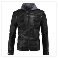 Wholesale Leather Jackets for Men High end Simple Locomotive Punk Zipper Slim Fit Long Sleeves Men s Leather Jackets US Size S XXL
