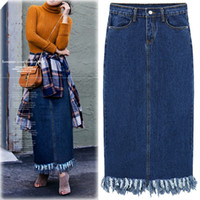 Wholesale High Waisted Button Denim Jeans - Europe and the United States women's 2017 new high waisted skinny denim skirt all-match long tassel skirt skirt jeans