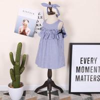 Wholesale Girl Stripe Tutu Sleeveless Dress - Everweekend 2017 Girls Summer Stripes Dress Ruffles Puff Sleeve Summer Sweet Children Party Dress Princess Dresses