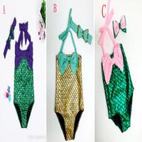 Wholesale Dots Bathing Suit - Girls mermaid tail Swimwear Hairband 2pcs suit Mermaid Swimsuit Costume Girls Mermaid Swimsuit Bathing Swimwear Bowknot Bikini Suit