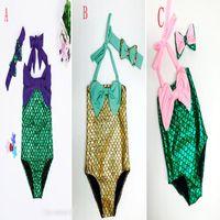 ingrosso costume di hairband-Ragazze sirena coda Swimwear Hairband 2pcs vestito Mermaid Costume da bagno Costume ragazze Mermaid Costume da bagno Costume da bagno costumi da bagno Bowknot Bikini Suit