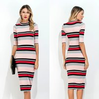 Wholesale Tight T Shirt Dresses - Hot Selling Dresses for Women Clothes Fashion 2017 Middle Sleeve Autumn Casual Tight Crew Neck T-Shirt Striped Dress