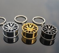 Wholesale Rims Keychain - 2017 new arrival high quality Wheel Rim Model Keychain Round Keyrings Car Keychain with Zinc Alloy