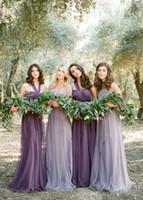 color de otoño tul al por mayor-Venta en línea Fairy Convertible Vestidos largos de dama de honor Halter Soft Tulle Vestidos de dama de honor para la boda Wedding Guest Dresses Caída de la venta caliente
