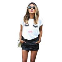 moda cílios venda por atacado-Moda sexo LIP Cílios impressão t-shirts para as mulheres tops plus size fora que preto tops de colheita engraçado impressão de manga curta tshirt WT20 WR