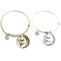 Wholesale Alex Love - fashion bracelet jewelry engraved I love you to the moon and back diy diamond crystal charm adjustable expanded bangle alex Bracelet 162203