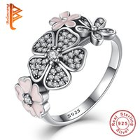 Wholesale Enamel Ring Crystal - BELAWANG Wholesale#678 Real 100% 925 Sterling Silver Enamel Daisy Statement Ring Crystal Flower Rings For Women Engagement Wedding Jewelry