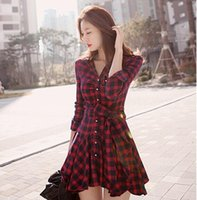 Wholesale Work Out Floor - Wholesale- Fashion Hot Casual Sexy Autumn Winter New Women Red Retro Long Sleeve Mini Dress Plaid Dress