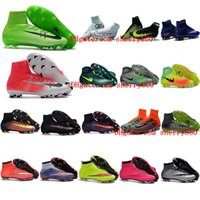 Wholesale Soft Red Leather Shoes - High Top Mens Kids Soccer Shoes Mercurial CR7 Superfly 5 FG Boys Football Boots Magista Obra 2 Women Youth Soccer Cleats Cristiano Ronaldo
