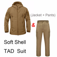 Wholesale Shell Cardigan - Tactical Soft Shell Jacket Sets Shark Skin Outdoor Clothes Uniform Camouflage Waterproof Jacket and Pants Shark Skin TAD Suits
