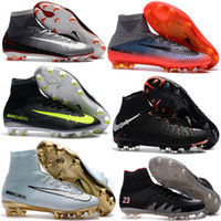 Wholesale Turf Superflys - Kids Mens MercurialX Proximo 2 II DF FG New Football Boots Mercurial Superfly Soccer Cleats High Ankle Turf Soccer Shoes Superflys 2017