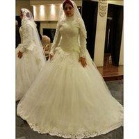 Wholesale Cheap Bride Robes - Plus Size Turkey Robe High Neck Long Sleeve Muslim Wedding Dresses 2016 Cheap Ghana Bridal Gowns Lace Bride Dresses Charming