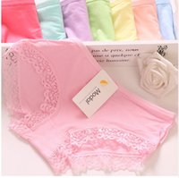 Wholesale Sexy Girl Lingerie Red - Sexy lace Women's Modal Underwear Female Briefs Underpants Lady Lingerie pure cotton high elastic candy color girl panties M XL