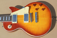 Wholesale Guitar Electric Flame Inlay - Custom Shop Billy Gibbons Pearly Gates Flame Maple Top Relic Electric Guitar Vintage Sunburst , Ebony Fingerboard Trapezoid MOP Inlay