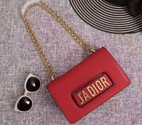 Wholesale Hand Bags Fashion Shoulder - J'ADIOR Flap Bag with Chain in Calfskin Leather Carried in Hand Aged Gold-Tone Metal Jewellery come with dust bag+Box Free Shipping