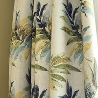 Wholesale Grommet Top Drapes - Plantain Leaves Pattern Linen Blackout Curtains, Grommet Top Window Curtains Drapes for Living Room