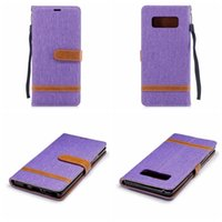 Wholesale blue jean wallet - Jean Hybrid Leather Wallet Case For Galaxy Note8 Note 8 Cloth Cell Phone Stand Holder Hit Color TPU Card Slot Flip Skin Exotic Sports Animal