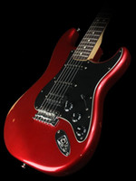Wholesale Strat Pickguard Pearl - Candy Apple Red Strat ocaster ST Electric Guitar H S S Pickup White Pearl Dot Fingerboard Inlay Black Pickguard Double Locking Tremolo Bridg