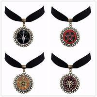 Wholesale Sexy Head Jewelry - 4 Style Vintage Bronze Pentagram Choker Punk Pendant Red Goat Head Sexy Velvet Choker Jewelry Satanism Gothic Jewelry Gift NS87