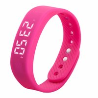 Wholesale Step Gauge - Wholesale- 3D T5 LED Display Sports Gauge Fitness Bracelet Smart Step Tracker Pedometer red In Stock Well Sell