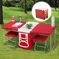 Wholesale picnic baskets Multi Function Rolling Cooler Picnic Camping Outdoor w Table Chairs Red cool bag picnic set