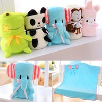 Wholesale Fleece Fabric Animal - 14 styles 100*80cm Cute Kids cartoon animal Coral Fleece Blanket can be folded blanket for Children Air conditioning and Nap blanket IB392