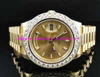 Wholesale Mens Solid Gold Bracelets - Top Quality Luxury Watches Steel Bracelet New Mens II Solid 18 kt 41MM Diamond Watch Gold Dial 8 Ct Mechanical MAN WATCH Wristwatch