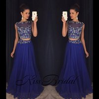 Wholesale womens tassels party dresses for sale – plus size Royal Blue Two Pieces Beaded Prom Party Dresses Elegant Full Length Chiffon Crew Custom Make Womens Occasion Evening Gowns