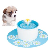 Wholesale Automatic Pet Water Fountain - Wholesale- New Blue Adjustable Flower Style Automatic Electric 1.6 L Pet Water Fountain Dog Cat Drinking Bowl With Silicone Pad