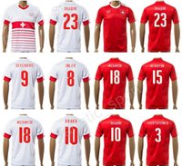 Wholesale National Team Soccer Uniforms - 17 18 Switzerland Jersey Soccer Uniform National Team Swiss Football Shirts 10 SHAQIRI 9 SEFEROVIC 8 INLER 2 DJOUROU 23 SHAQIRI 27 ZUFFI