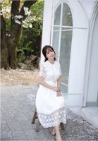 Wholesale Dress Korea Long Skirt - chiffon dress skirt openwork lace dress long sleeved women Bohemia's new women's South Korea women's sexy summer new Japanese sweet lace sti