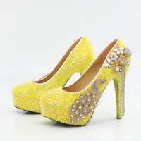 Wholesale yellow bridesmaid shoes wedding - 5 8 11 14CM Cinderella Shoes Yellow Fully Beaded Flower Tassel Bridal Bridesmaid Wedding Shoes Hand-made Prom Evening Party High Heels 123