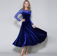 Wholesale Tango Evening Dress - 2017Sexy mesh stitching modern dance dress velvet Waltz Tango Foxtrot ballroom quickstep costume competition dress evening dress dance skirt